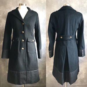 J. CREW Wool Military Long Trench  Coat Black 0